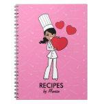 Cuaderno culinario del chica afroamericano