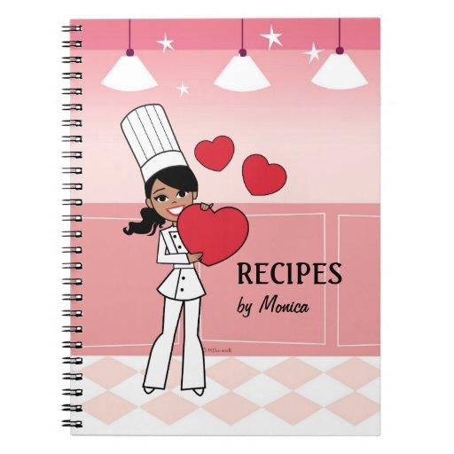 Cuaderno culinario del chica afroamericano fresco