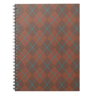 Cuaderno de Brown Argyle de la turquesa