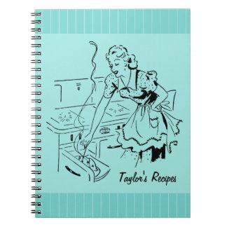 Cuaderno de cocinar retro personalizado de la