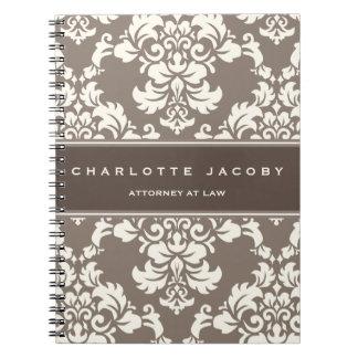 Cuaderno de color topo elegante del damasco