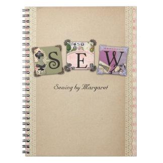 Cuaderno de costura de los artes del vintage elega