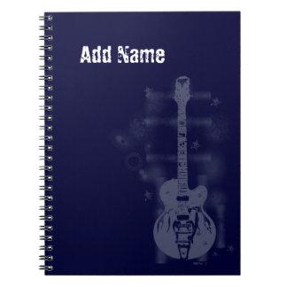 Cuaderno de encargo azul gráfico de la guitarra