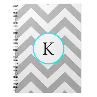 Cuaderno de encargo - diseño: Chevron gris w/Monog