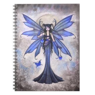 Cuaderno de hadas azul del arte de la fantasía