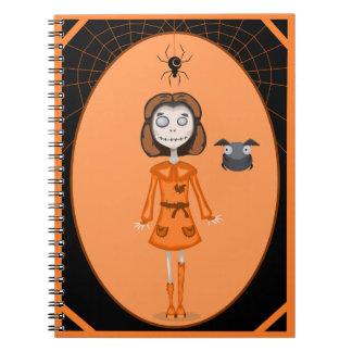 Cuaderno de Halloween del chica del zombi