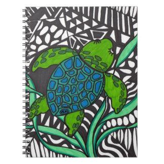 Cuaderno de la alga marina de la tortuga de mar de