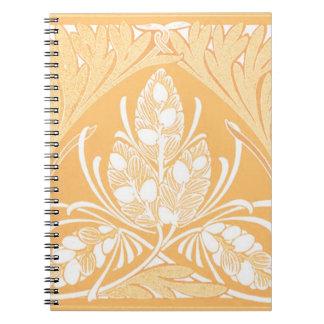 Cuaderno de la arena de la hoja floral del vintage