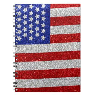 Cuaderno de la bandera americana del vintage
