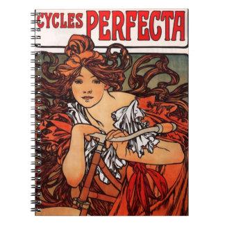 Cuaderno de la bicicleta del vintage de Alfonso Mu