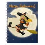 Cuaderno de la bruja del feliz Halloween