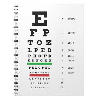 Cuaderno de la carta de ojo de Snellen