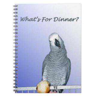 Cuaderno de la cena del gris africano de Congo