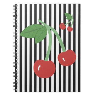 Cuaderno de la cereza de la cereza - rayas
