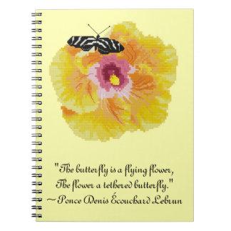 Cuaderno de la cita de la flor de mariposa