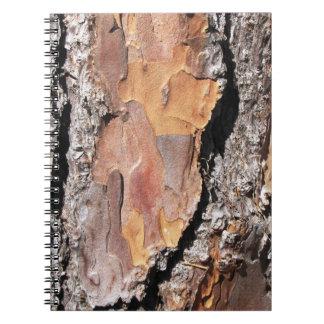 Cuaderno de la corteza de árbol de pino