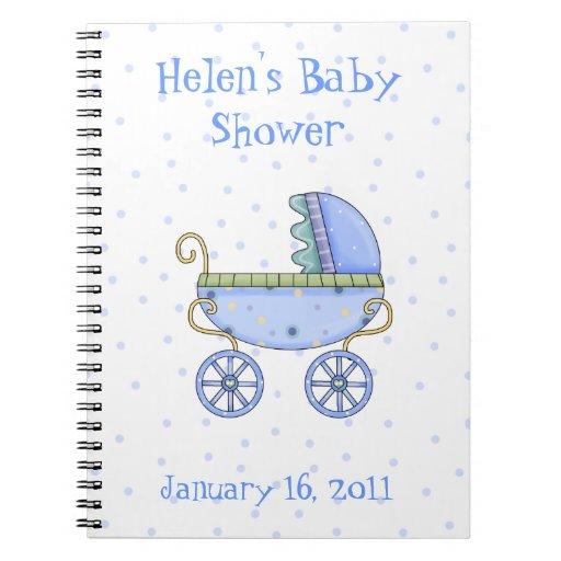 Cuaderno de la ducha del carro de bebé azul