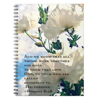 Cuaderno de la flor blanca del 8:28 de los romanos