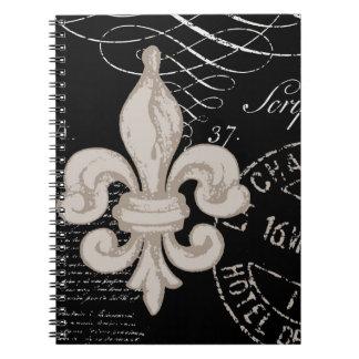 Cuaderno de la flor de lis del vintage…