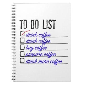 Cuaderno de la foto de la A-hacer-lista del café