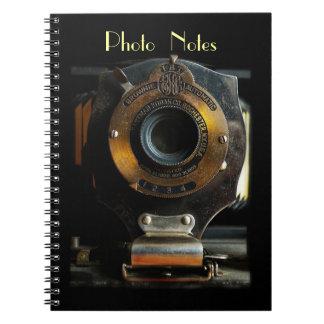 Cuaderno de la foto de la cámara del brownie del v