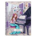 Cuaderno de la foto del chica el   de la música de