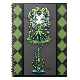 Cuaderno de la hada del bufón del verde del palill