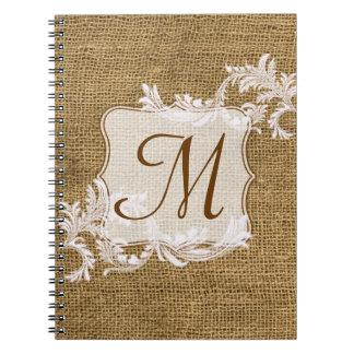 Cuaderno de la inicial del monograma del cordón de