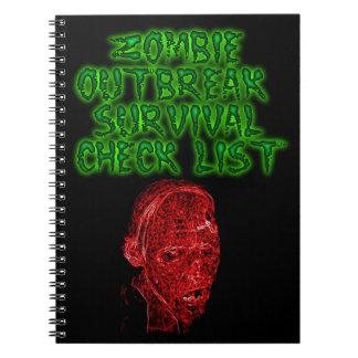 Cuaderno de la lista de control de la supervivenci