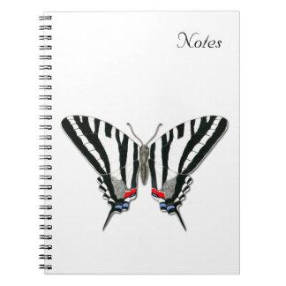 Cuaderno de la mariposa de Swallowtail de la cebra