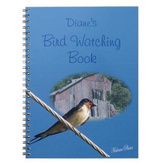 Cuaderno de la observación de pájaros del trago de
