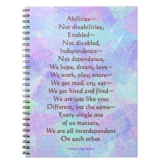 Cuaderno de la página del poema 80 de las incapaci