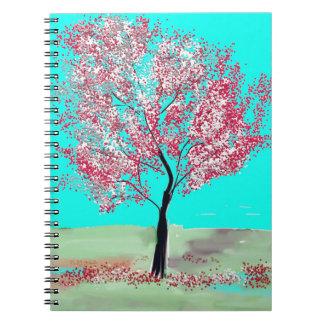 Cuaderno de la pintura del árbol de la flor de