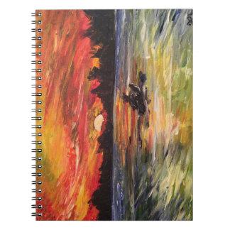 Cuaderno de la pintura del Kayaker de la puesta