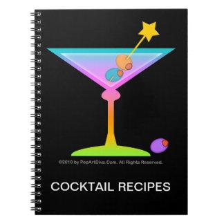 Cuaderno de la receta del cóctel de los martinis d