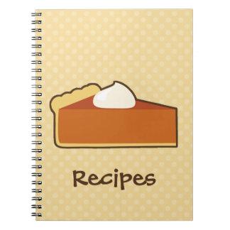 Cuaderno de la receta del pastel de calabaza