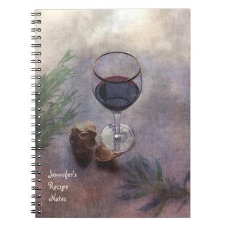 Cuaderno de la receta del vino y del ajo