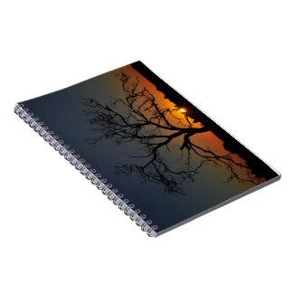 Cuaderno de la salida del sol del árbol