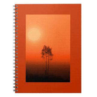 Cuaderno de la salida del sol del árbol de la cala