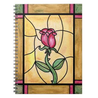 Cuaderno de la ventana color de rosa