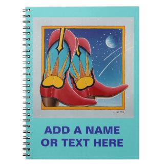Cuaderno de las botas de vaquero de la puesta del
