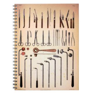 Cuaderno de los instrumentos médicos del vintage