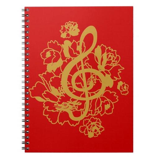 Cuaderno de los peonies del clef agudo del dragón