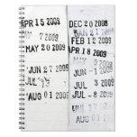 Cuaderno de los sellos de fecha de la biblioteca