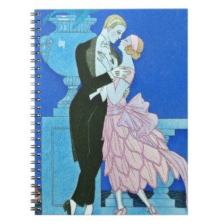 Cuaderno de medianoche del art déco del beso