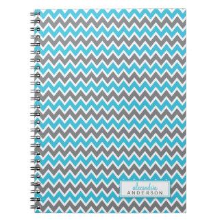 Cuaderno de moda del modelo de Chevron (aguamarina