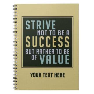 Cuaderno de motivación del éxito y del valor