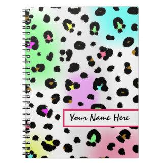 Cuaderno de neón del estampado leopardo del aerógr