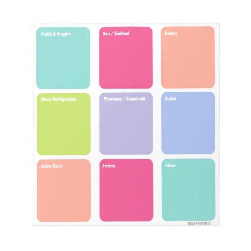 Cuaderno de notas adaptable de la lista de compras bloc de notas