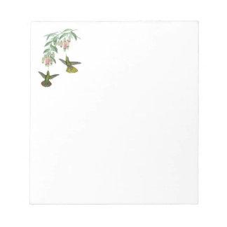 Cuaderno de notas con los colibríes bloc de papel
